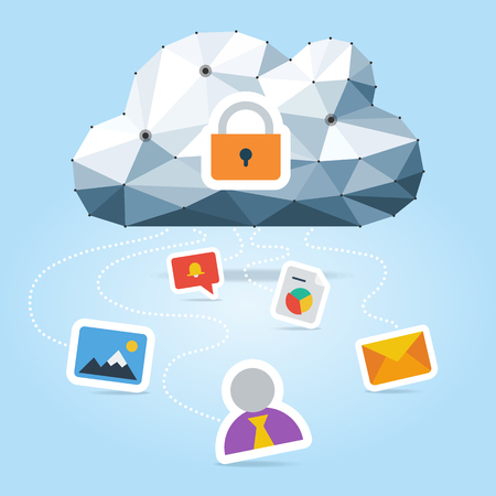 Cloud computing security illustration with low cloud and polygonal flow icons isolated on light blue background. Illustration