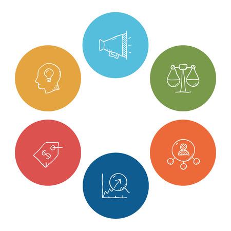 Semplice set di doodle di icone vettoriali di affari. Contiene icone come siccità valore, produttività, vendite, crescita, notizie e lavoro di squadra. Archivio Fotografico - 74490746