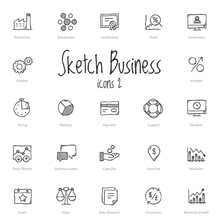 timing the market: Set of black sketch business icons isolated.