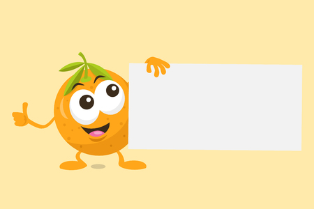Illustration of cute orange mascot offer with label in his hand. Isolated on light orange background.