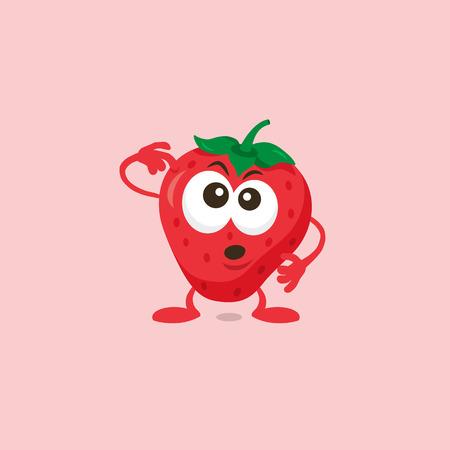 Illustration of a cute strawberry thinking mascot isolated on a light background. Illusztráció