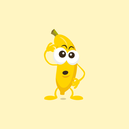Illustration of a cute banana thinking mascot isolated on a light background. 向量圖像
