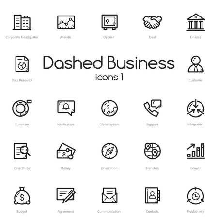 Business black line icons set isolated on light background.