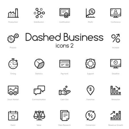 benefit: Business black line icons set isolated on light background. Illustration