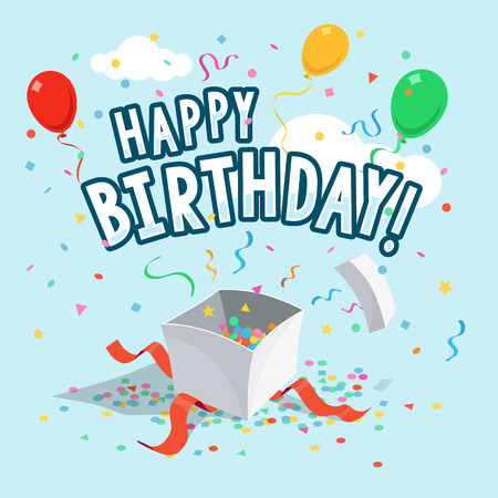 Template Of Happy Birthday Greeting Card With Balloons Gift