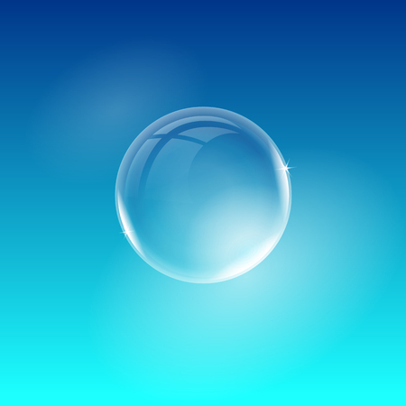 Vector transparent transparent soap bubble isolated on blue background. Easy to use for your design.