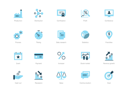 Set of blue business icons isolated on white background.