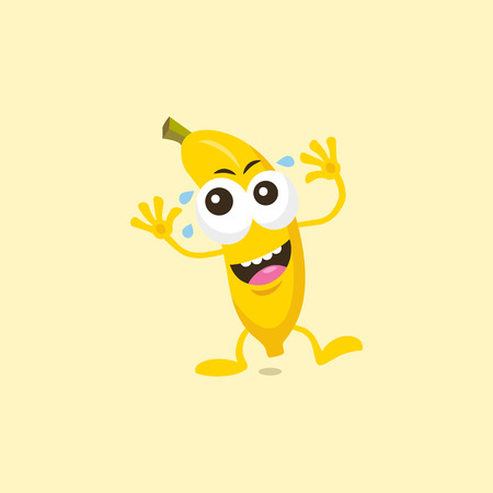 do it: Illustration of a cute laughing banana mascot isolated on a light background. Illustration