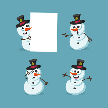 Illustration of cute snowman figures isolated on light blue background. Christmas character. Illustration