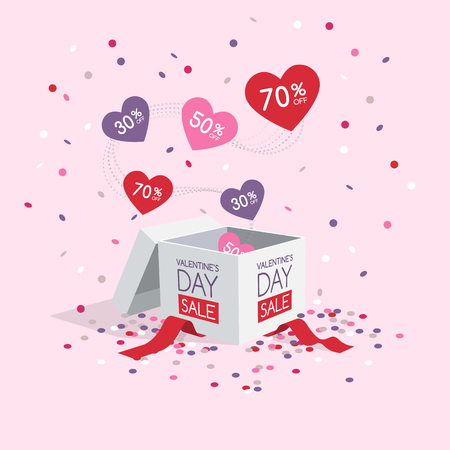 Valentines day sale symbol with box and flying hearts and confetti isolated on light background. Easy to use for your design with transparent shadows.