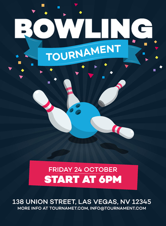 Vector bowling tournament poster with scattered skittle and bowling ball isolated on dark background with transparent shadows.