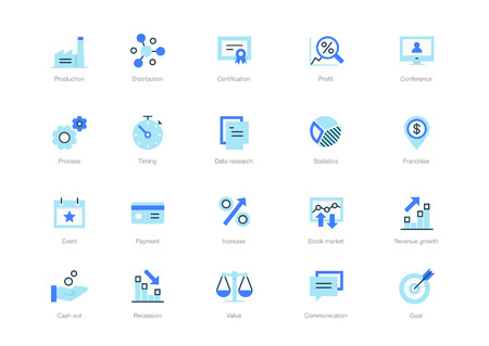Set of blue flat business icons with dark blue accent isolated on light background. Contains such icons Goal, Profit, Distribution, Production, Certification, and more. Ilustração