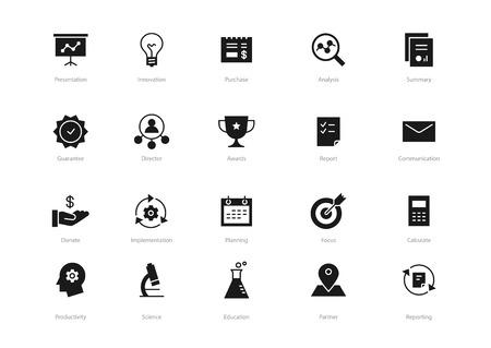 Conjunto de ícones de negócios preto isolado no fundo branco. Contém esses ícones Planejamento, Prêmios, Conceito, Educação e muito mais.