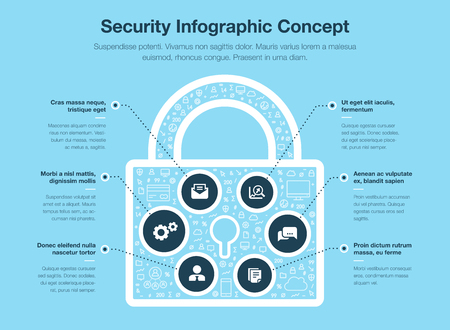 Security infographic concept with padlock symbol isolated on blue background. Easy to use for your website or presentation. Illustration