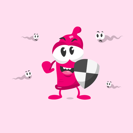 Cute condom mascot with shield protects against sperms. Flat design style isolated on white background.