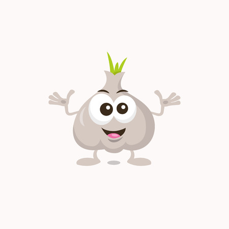 Illustration of decisive cute garlic mascot, isolated on light background. Flat design style for your mascot branding.