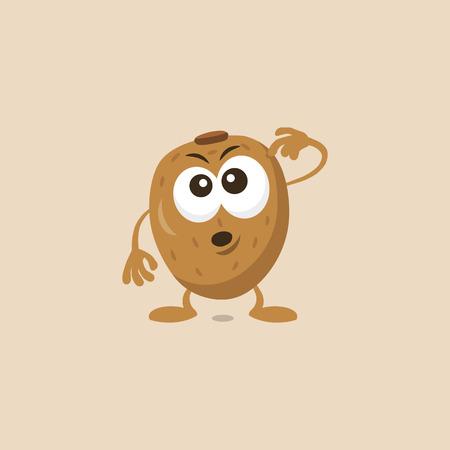Illustration of cute kiwi thinking mascot isolated on light background. Flat design style for your mascot branding. Illustration