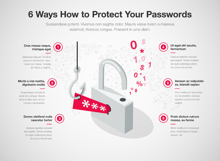 Simple Vector infographic for 6 ways how to protect your password templates isolated on light background. Easy to use for your website or presentation.