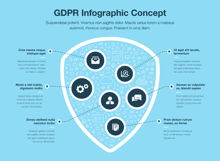 European GDPR infographic concept with shield symbol filled with small icons isolated on blue background. Easy to use for your website or presentation. Illustration