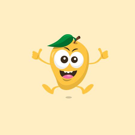 Illustration of cute happy mango mascot