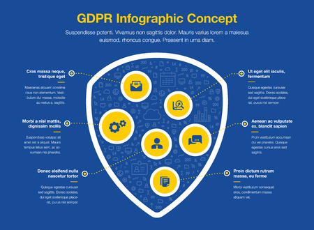 European GDPR infographic concept with shield symbol filled with small icons isolated on dark blue background. Easy to use for your website or presentation.