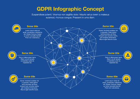 European GDPR infographic concept with a symbol symbol made from a network of polygons as the main symbol with several icons, isolated on a dark blue background. Easy to use for your website or presentation. Illustration