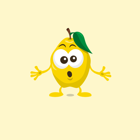 Illustration of a cute amazed quince mascot isolated on light background. Flat design style for your mascot branding. 일러스트