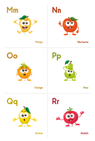 Illustration of fruit and vegetables alphabetical cards with funny mascots order from m to r, isolated on light background. Learning alphabets can be fun now.