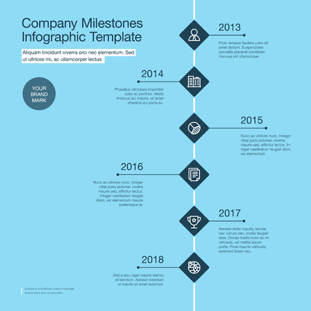 Vector infographics for the company milestones timeline template with dark rhombus isolated on blue background. Easy to use for your website or presentation.  イラスト・ベクター素材
