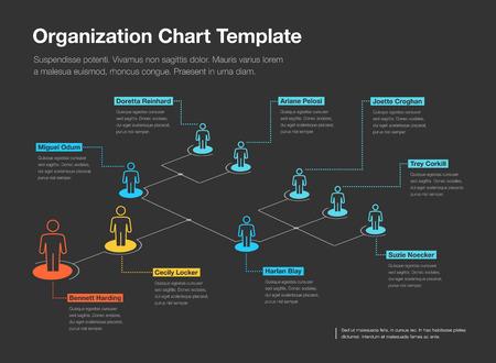 Plantilla simple de gráfico de jerarquía de organización de la empresa con lugar para su contenido: versión oscura. Fácil de usar para su sitio web o presentación.