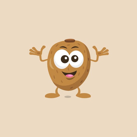 Illustration of decisive cute kiwi mascot isolated on light background. Flat design style for your mascot branding. 向量圖像
