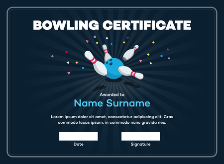 Modern bowling certificate with space for your content, scattered skittle and bowling ball isolated on dark background with transparent shadows.