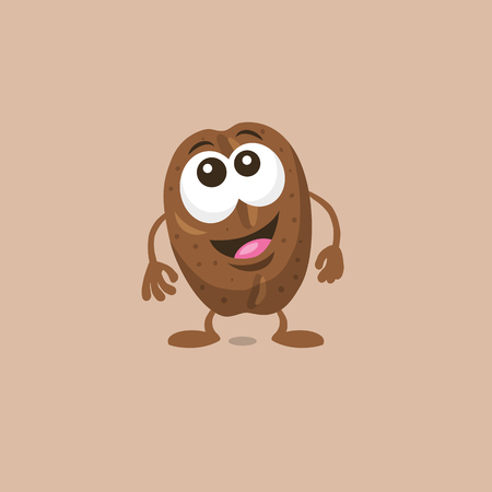 Illustration of a cute surprised coffee bean mascot with big smile isolated on light background. Flat design style for your mascot branding.