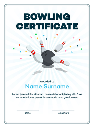 Modern bowling certificate with space for your content, scattered skittle and bowling ball isolated on light background with transparent shadows. Stock Illustratie