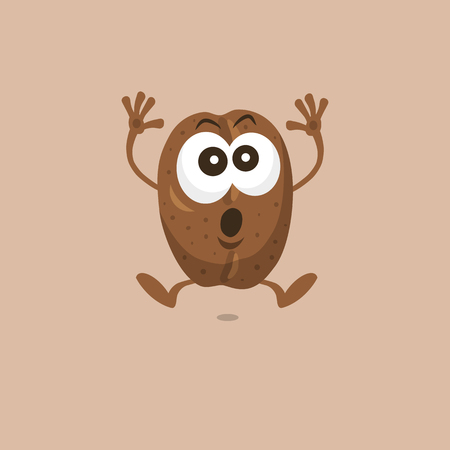 Illustration of cute coffee bean scared mascot isolated on light background. Flat design style for your mascot branding.