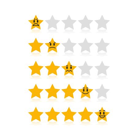 Estrellas de calificación para la satisfacción del cliente con diferentes emociones divertidas. Fácil de usar para su sitio web o presentación.