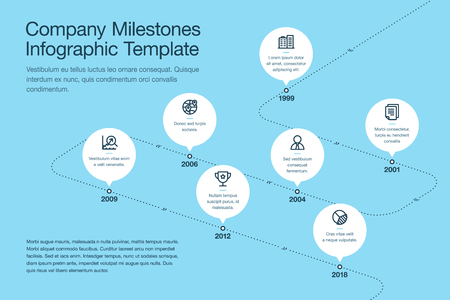 Simple visualization for business milestones timeline template with white circles and stroke icons on a curved road line - blue version. Easy to use for your website or presentation.