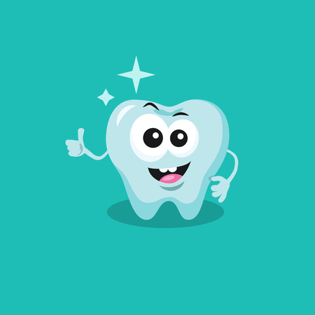 Cute tooth mascot recommends cleaning the teeth with big smile and shine isolated on green background. Flat design style for your mascot branding.