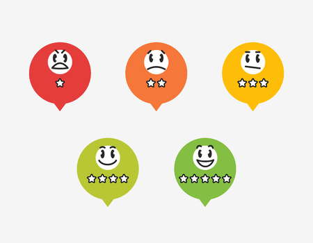 Colorful badges with star rating and funny emoticons. Easy to use for your website or print.