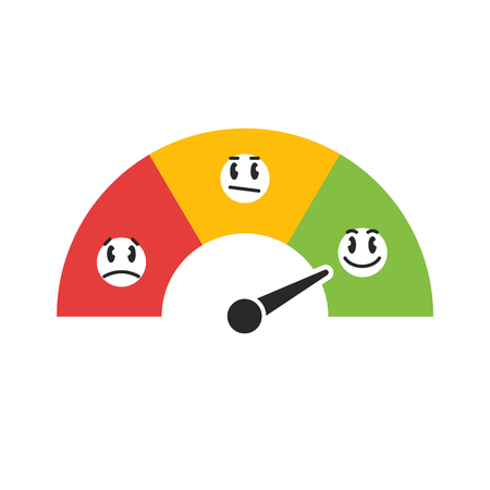 Customer satisfaction meter with five funny emoticons. Easy to use for your website or print.