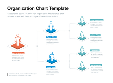 Simple company organization hierarchy chart template with place for your content. Easy to use for your website or presentation. Vector Illustration