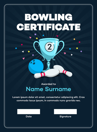 Modern second-place bowling certificate with a silver winning cup and place for your content. Isolated on a dark background with transparent shadows.