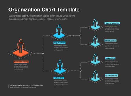 Modèle de graphique de hiérarchie d'organisation d'entreprise simple avec place pour votre contenu - version sombre. Facile à utiliser pour votre site Web ou votre présentation. Vecteurs