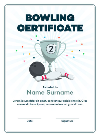 Modern second-place bowling certificate with a silver winning cup and place for your content. Isolated on white background with transparent shadows. Vector Illustration