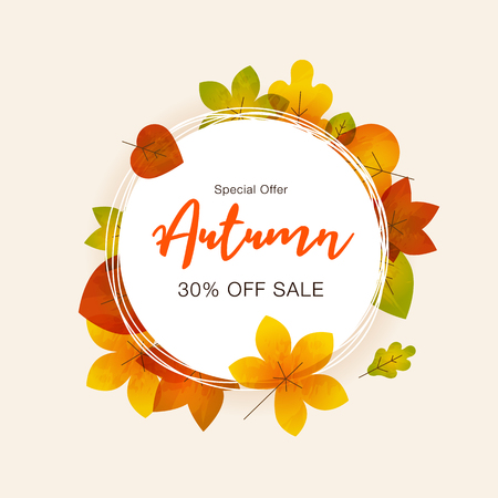 Autumn special offer sale background with colorful fall leaves and place for your content. Easy to use for your website or presentation.