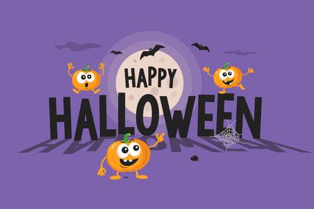 Halloween illustration with the funny cartoon pumpkins. Flat design illustration.