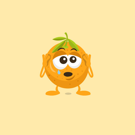 Illustration of a crying sad orange mascot with teardrop on his eye isolated on light background. Flat design style for your mascot branding.