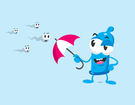 Cute blue condom mascot with umbrella protects against sperms. Flat design style isolated on white background.  イラスト・ベクター素材