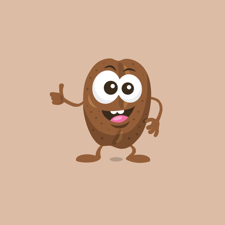 Illustration of a cute happy coffee bean mascot. Isolated on white background. Flat design style for your mascot branding. Stock Illustratie