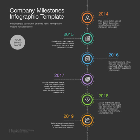 Infographics for the company Milestones timeline template with colorful circles and icons, isolated on dark background. Easy to use for your website or presentation. Vektorgrafik